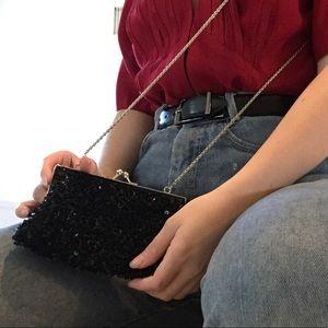 vintage black sequin rectangle shoulder mini bag